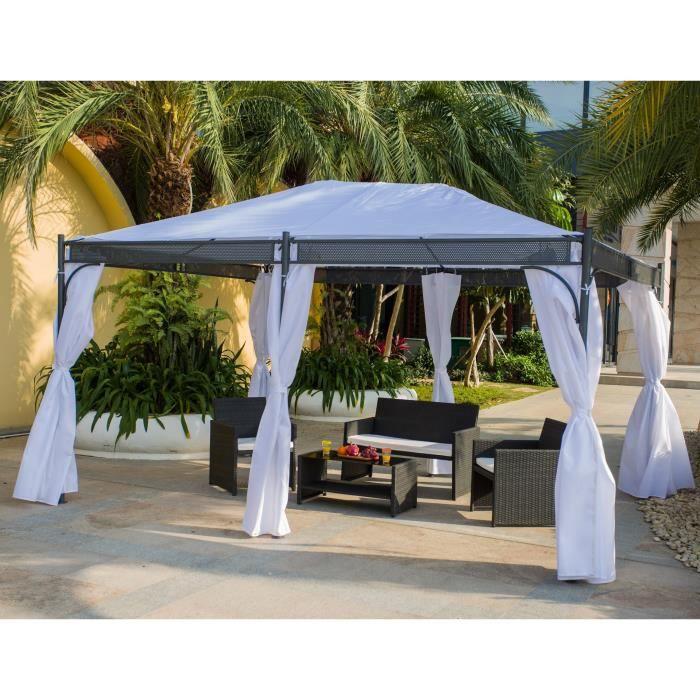 thai tonnelle de jardin 3x4 m avec rideaux inclus blanc achat vente tonnelle barnum. Black Bedroom Furniture Sets. Home Design Ideas