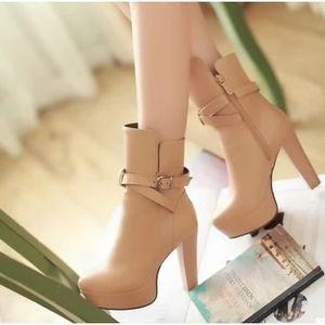 bottes Bottes femmes bottes Brown chaussures bottes imperméables à bottes simples Femme hauts 37 de talons Martin qOgAqSF