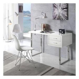 BUREAU  Bureau moderne et design Maja Blanc & Chrome ZENDA