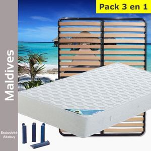 ENSEMBLE LITERIE Maldives - Pack Matelas + Lattes 140x190 + Pieds