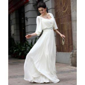 mode et simple robe longue la mousseline blanche robe de soirée pas cher la  longueur de e5136ee2451b