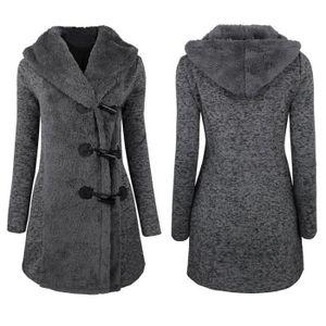 PARKA Femmes mode hiver plus épais boutons chaud manteau