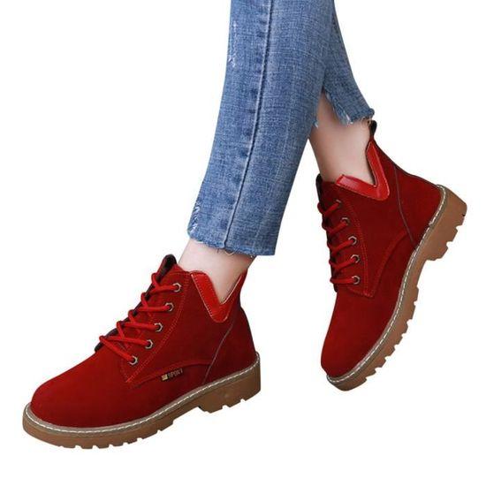 Femmes chaussures en daim bout rond plat bottillons lacent Martin Bottes Loisir Chaussures Rouge Rouge - Achat / Vente botte