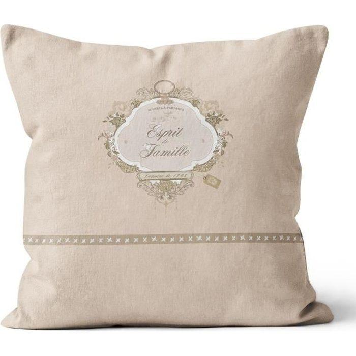 SOLEIL D' OCRE Coussin Esprit de Famille 100% coton - Déhoussable - 40 x 40 cm - Naturel