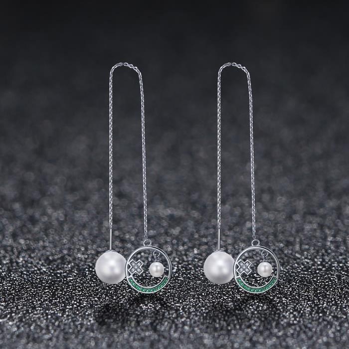 WOSTU 100% réel S925 & blanc plaqué or Cool visage Emoji Design bijoux mignons femmes longues perle gland boucles doreilles CQE222