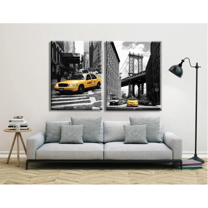 objet dcoration murale la toile en noir et blanc taxi jaune empreintes n