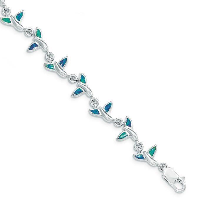 Bracelet en argent Sterling Motif queue de baleine 7,75