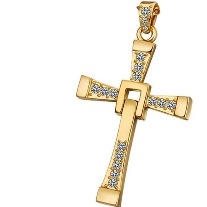photos officielles 6681b c98ea Pendentif croix Or jaune 18k plaqué crucifix femmes Hommes Collier chaîne  pendentif
