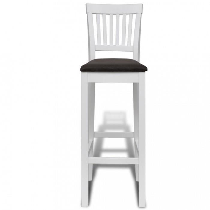 chaises de bar 2 pcs chaise bar en bois peinture blanche achat vente tabouret de bar blanc. Black Bedroom Furniture Sets. Home Design Ideas