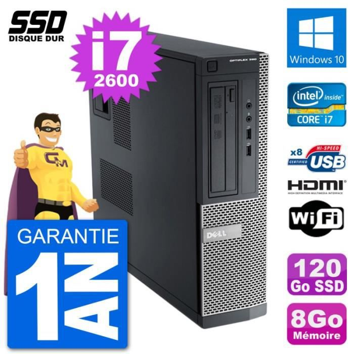 PC Dell OptiPlex 390 DT i7-2600 RAM 8Go SSD 120Go HDMI Windows 10 Wifi