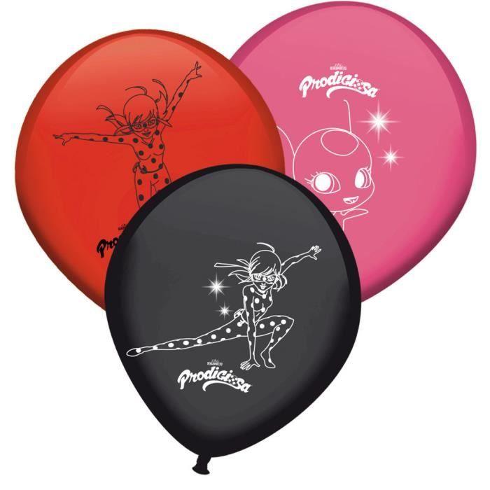 8 Ballons Miraculous Ladybug Anniversaire Fete Enfant Rouge Noir