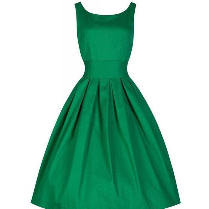 Robe Femme sans manches vintage taille slim