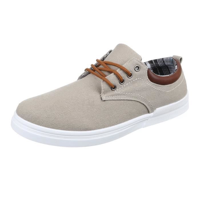 homme chaussures flâneurs loisirs chaussures lacer Beige 40