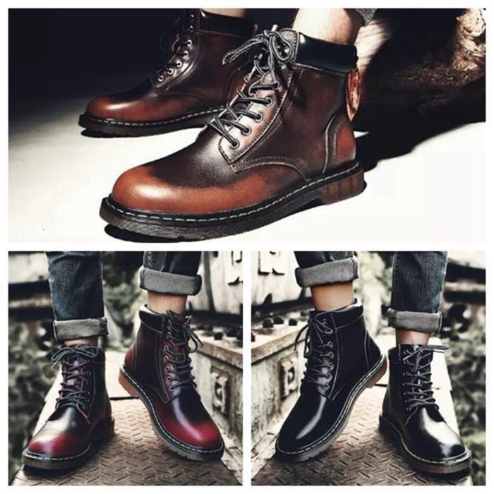 Homme cuir Botines à lacets homme Classique Bottes Martin 38-44