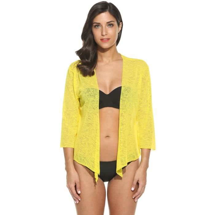 veste femme sexy transparant sans col motif pure jaune jaune achat vente gilet cardigan. Black Bedroom Furniture Sets. Home Design Ideas