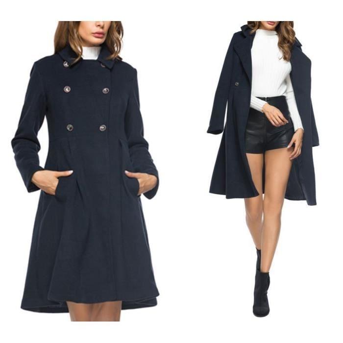 1764d309c Bleu marin Manteau Femme Mi-Longue en Laine Col Revers Double Boutonnage  Vintage Amincissant Nouveauté Automne Hiver