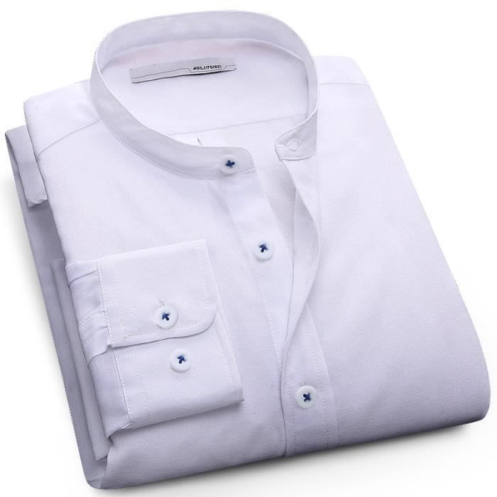Chemise Homme Marque Luxe manche longue Col Mao Casual Slim Fit Pour ... a8dadb307e5