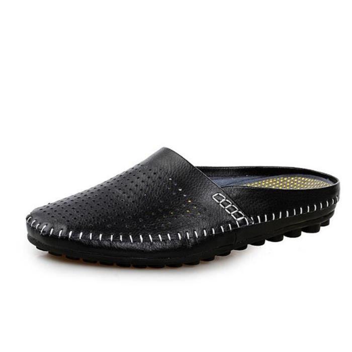 Chaussures Hommes Cuir Printemps Ete Mode Respirant détente Chaussure TYS-XZ082Noir43 TfGMWGeoNU