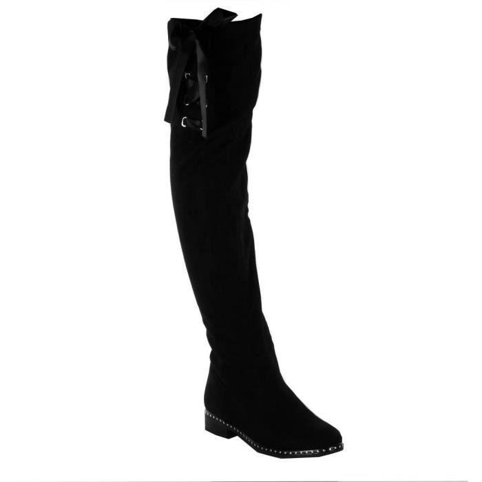 4fabbbcc2c3f3 Angkorly - Chaussure Mode Cuissarde cavalier souple chic femme Lacet ruban  satin noeud clouté Talon bloc 3 CM - Noir 3 - H308 T 38