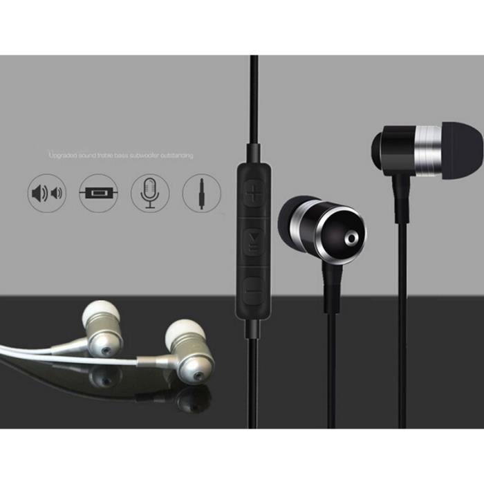 Ecouteurs Métal Pour Honor 5x Avec Micro Et Télécommande Réglage Son Kit Main Libre Intra-auriculaire Universel (rouge)