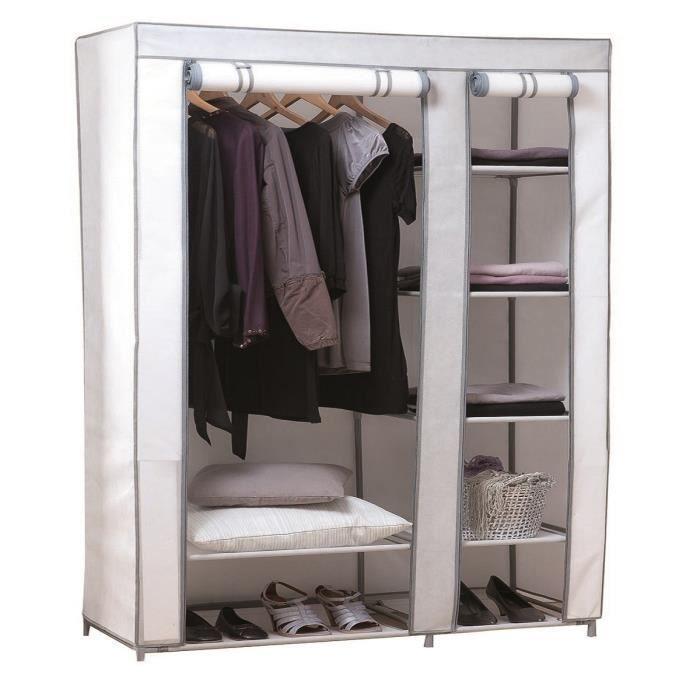 penderie amy avec housse blanche 100 polypropyl ne 99x46x175 cm achat vente amenagement. Black Bedroom Furniture Sets. Home Design Ideas