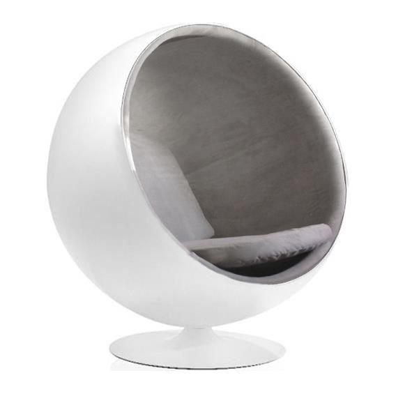 Fauteuil BOULE Ball Chair Blanc Gris Achat Vente fauteuil