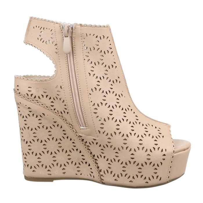 Chaussures femmes sandales cale Plateau Escarpins Beige sAHaqT