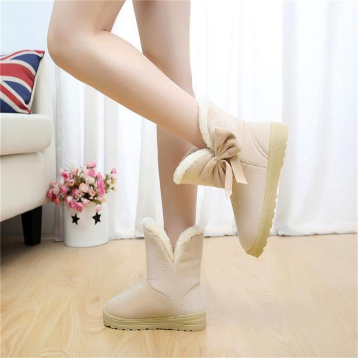 Bottes Femme Hiver Plates Pour Femmes Bottes De Neige Chaudes Occasionnelles Ultra Confortable blanc 42