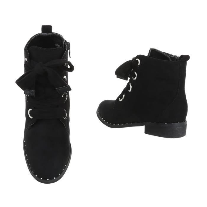 Bottine élégante| arbre court talon bloc | Bottines Plateau |Bottes à lacets | Ankle Boots | Chaussures femme Bottines |