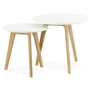 TABLE BASSE Tables gigognes scandinaves blanches avec pied chê