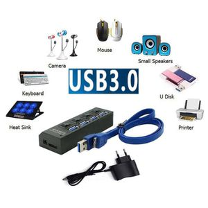 HUB  4 Port USB 3.0 HUB Interrupteur d'alimentation Sp