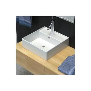 LAVABO - VASQUE Superbe Luxueuse vasque céramique carrée avec trop