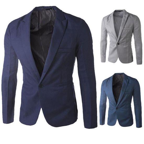 Mode Manteau marine Un Blazer Fit Casual Charme Hommes Bouton Veste Costume Slim Hauts De waRBFq7