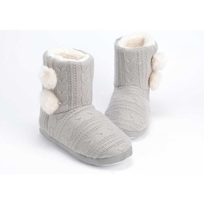 Chaussons tricot gris 37/38 Amadeus