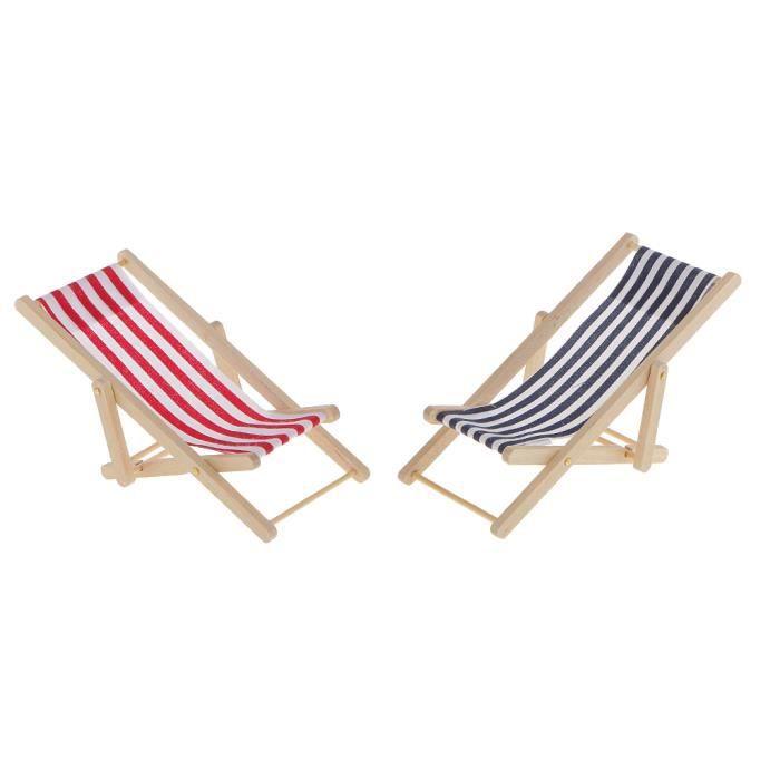 MAISON Miniature Rouge Et Bleu Rayure Salon En Bois Plage Chaise De Jardin  1-12 Maison De Poupée