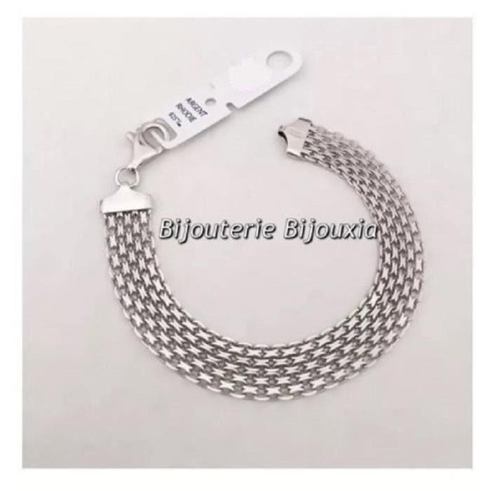 Bracelet GOURMETTE Tressé 3 rangs ARGENT Massif NEUF