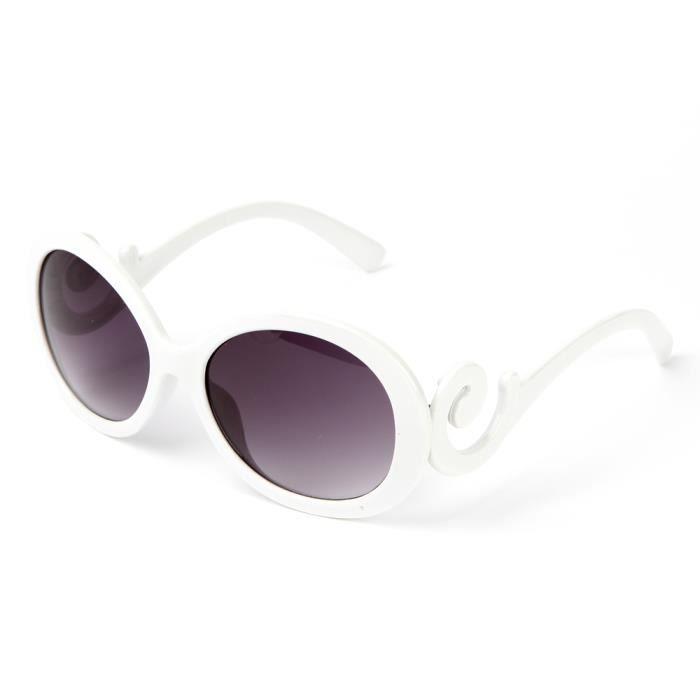 Élégant 1x UV400 Lunette de soleil Oversize Cadre Vague Blanc Femmes