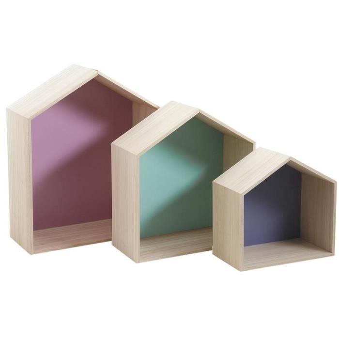 3 étagères murales maison en bois colorées   Achat / Vente etagère