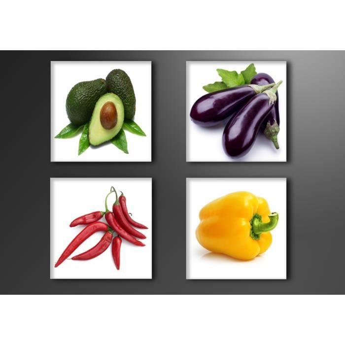 Tableau moderne imprim 4 20x20 cm legumes achat - Tableau de cuisine moderne ...