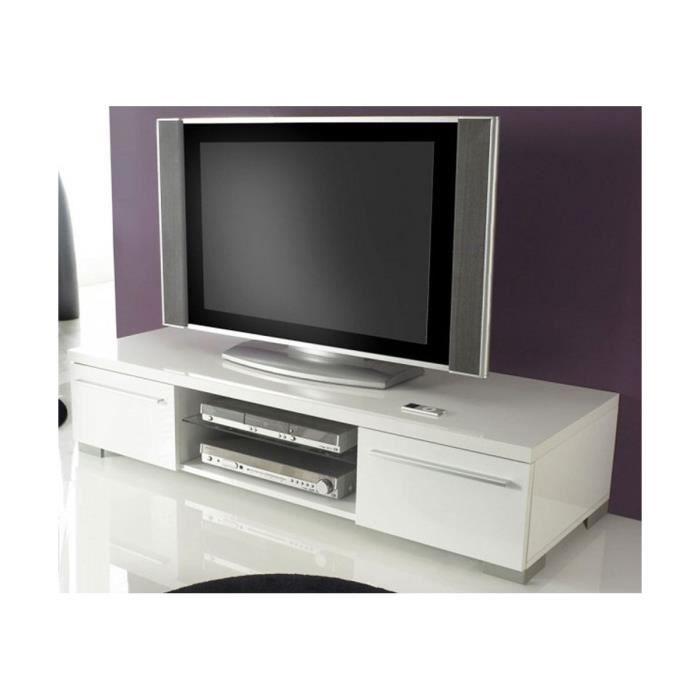 Meuble TV Design Blanc Laqué Cavalli 140 Cm