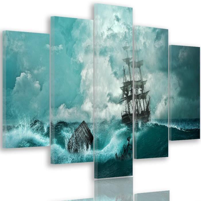 tableau d co multi panneaux mural impression sur toile 150x100 vue marine mer voilier peinture. Black Bedroom Furniture Sets. Home Design Ideas