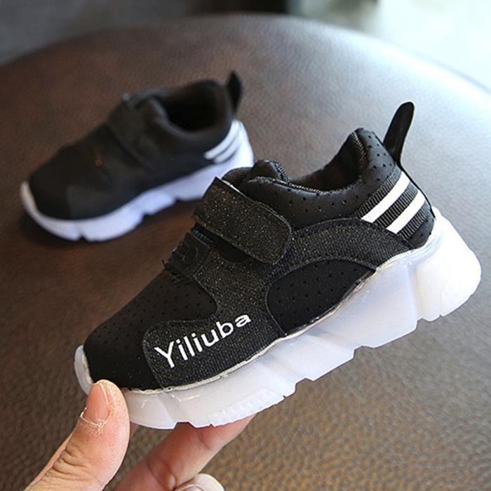Enfant en bas âge Sport Enfants Running Chaussures de bébé Garçons Filles LED Chaussures Lumineuses Sneakers Noir XMM71124531BK