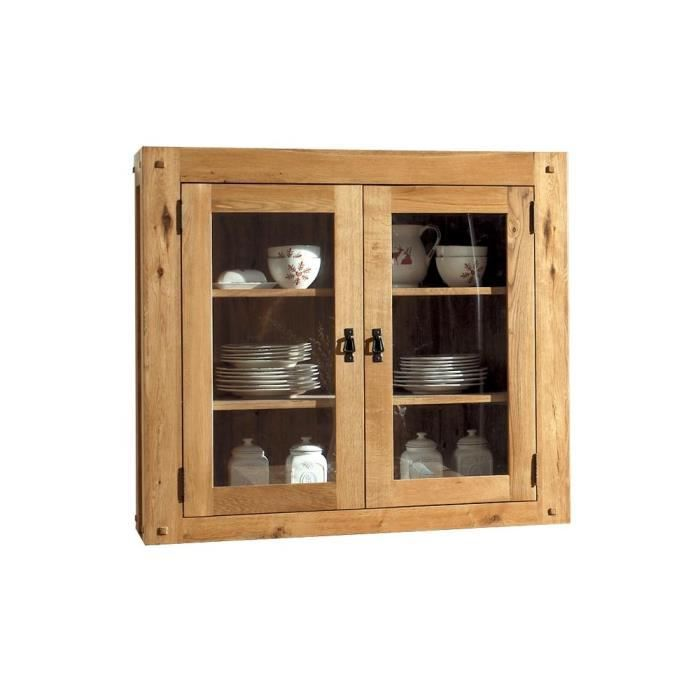 haut de vaisselier vitr ch ne 120x40cm fjord achat. Black Bedroom Furniture Sets. Home Design Ideas