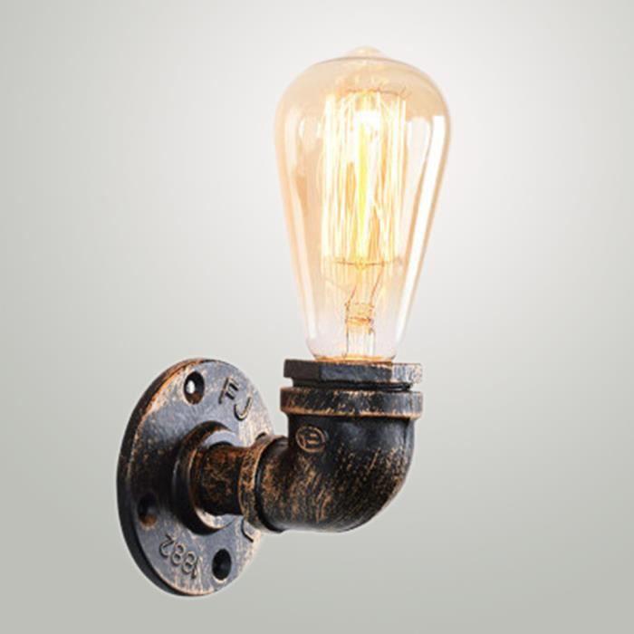 Light E27 Lampe Fer Finition Applique Murale Lamp Decor Simple Robinet Tuyau Mur Vintage Feu Sans De Wall Ampoule TFKJl1c