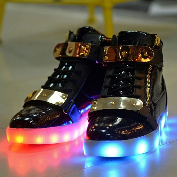 Fashion Colorful LED Luminous Chaussures USB rechargeables Flashing Lights Couple haut-top Souliers