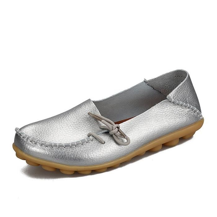 Casual Leather Mother Loafers Boat Shoes Driving Footwear For Woman CGMSZ Taille-41 1-2