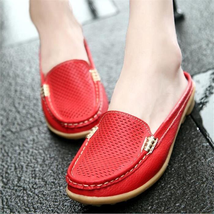 Mocassin Femmes Cuir Occasionnelles Classique Chaussure BJXG-XZ045Rouge35 KYzalXy