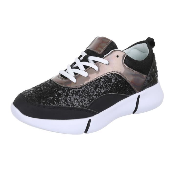Chaussures Briller Sneakers Basket Femmes Noir rouge xPSqrHxw4