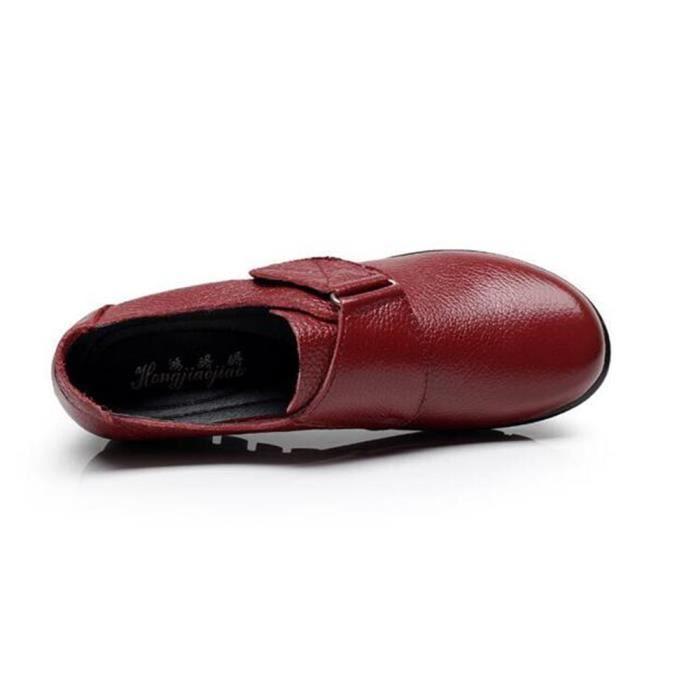 Été Chaussure Cuir Femme Printemps Chaussures BMMJ XZ063Rouge35 Comfortable wZf8B8q