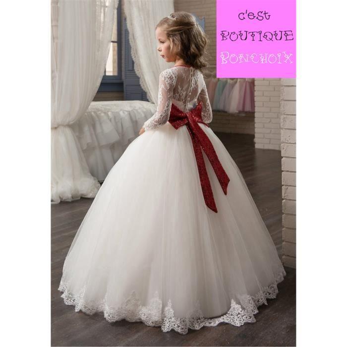 Robes de Cérémonie Mariage Fille Dentelle Manches Longues EnfantMaxi Blanc Avec Ceinture Rouge